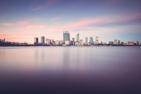 perth australia australie western wa city building sky cbd sunset long exposure pose longue water reflect reflet ville urbain coucher de soleil