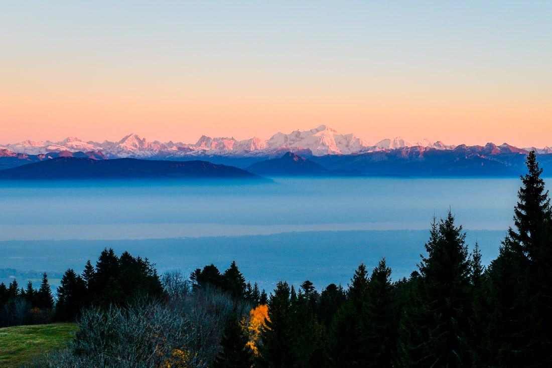 col de la faucille pays de gex ain france jura rhones alpes alps mont blanc lac léman geneve brouillard coucher de soleil sunset foret 01 sapin