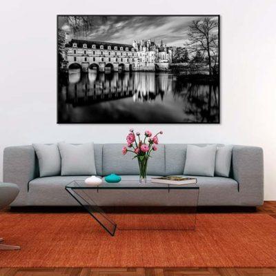 tirage impression print grand format photographie photographe paysage nature décoration art loire chateau cher chenonceau noir et blanc france histoire
