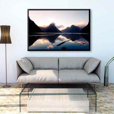 tirage impression print grand format photographie photographe paysage nature décoration art milford sound fiord fjord reflect coucher de soleil nz new zealand nouvelle zélande