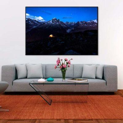tirage impression print grand format photographie photographe paysage nature décoration art mont blanc chamonix bivouac alpes aiguille verte nuit night