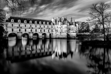 chateau château chenonceau chenonceaux castle loire indreetloire 37 chambord long exposure pose longue water reflection reflet noir et blanc b&w black and white robin favier photographies fine art