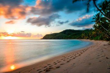 fiji fidji Waya Island Yasawa Islands Archipelago archipele volcanic beach plage ocean pacific paradise paradis sunset coucher de soleil summer vacance chill